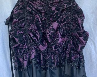 Bustle - Plum & Black Taffeta Brocade/Damask Tie-On Bustle - Versatile Costume Piece for Steampunk-Victorian-Burlesque-Cosplay-Western