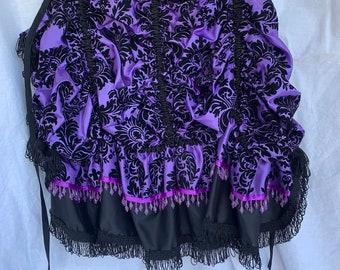 Bustle - Perfect Purple & Black Taffeta Brocade Tie-On Bustle - Versatile Costume Piece for Steampunk-Victorian-Burlesque-Cosplay-Western