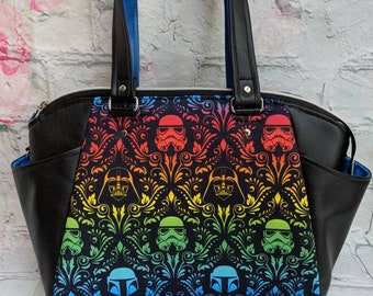 Rainbow star wars damask handbag Annette purse knitorious in PUL and black and blue faux vinyl leather