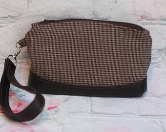 Tweed and Faux vegan vinyl leather clutch purse wristlet Clematis pattern