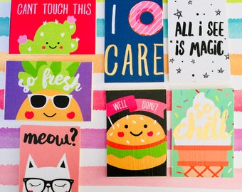 I donut care magnet, magic magnet, meow magnet, can't touch me magnet, magnets, cute magnets, fun magnets, rectangular magnets