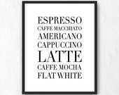 Coffee Printable. Typographic Print. Coffee Types Wall Art. Coffee Guide Poster. Kitchen Wall Decor. Espresso Art. Latte Poster. JPG, PNG