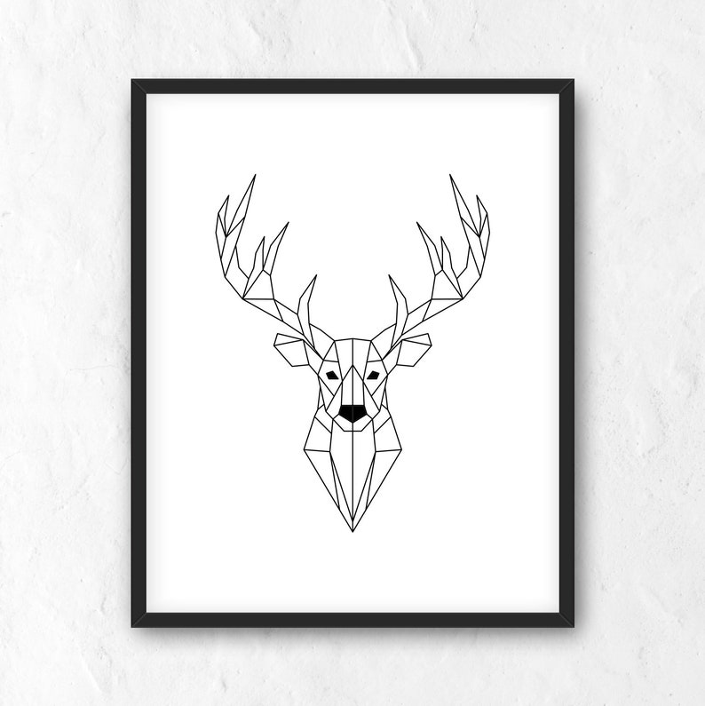 graphic relating to Deer Printable named Geometric Deer Poster. Printable Wall Artwork. Nordic Poster. Scandinavian print. Impressive Minimalist Dwelling Decor. Geometry Deer Wall Artwork. JPG, PNG
