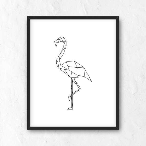 Imprime Geometrique De Flamant Rose Printable Wall Art Etsy