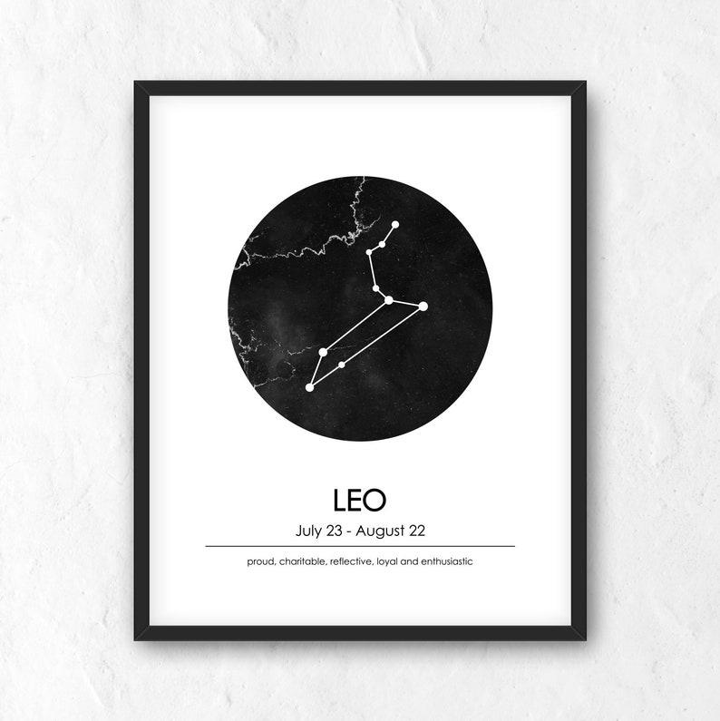 Leo Zodiac Print Printable Astrology Sign Constellation Wall Art Minimalist Modern Poster Leo Constellation Zodiac Leo Print Jpg Png