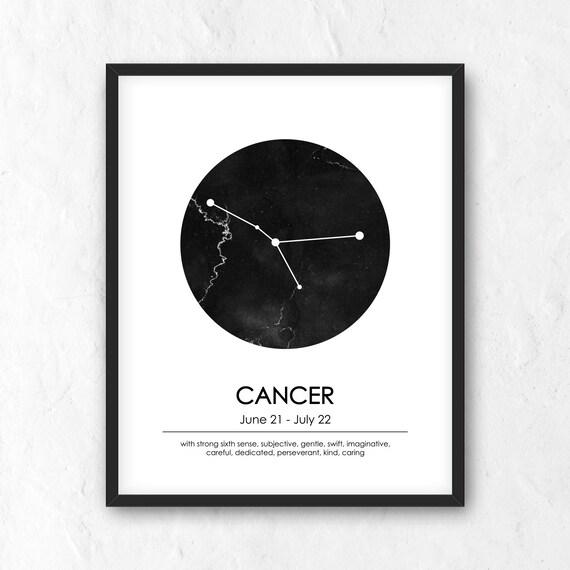 Cancer Zodiac Print  Printable Astrology Sign  Constellation Wall Art   Cancer Print  Minimalist Modern Poster  Cancer Constellation  JPG,PNG