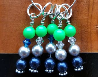 Stitch Markers. Set of 5 Seahawk Markers.