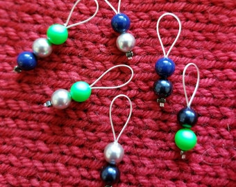 Stitch Markers.  SEAHAWKS! Set of 6.