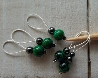 Stitch Markers. Set of 5 Green Stitch Markers
