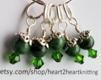 Stitch Markers. Set of 5 Emerald Green.