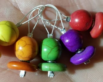 Stitch Markers. Set of 5 Natural Turquoise Stitch Markers