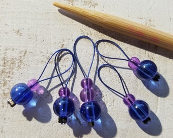 Stitch Markers. Set of 5 Blue/Purple Glass beads