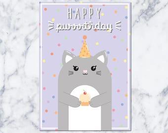 Happy Purrrthday! : Birthdaycard - DIGITAL DOWNLOAD