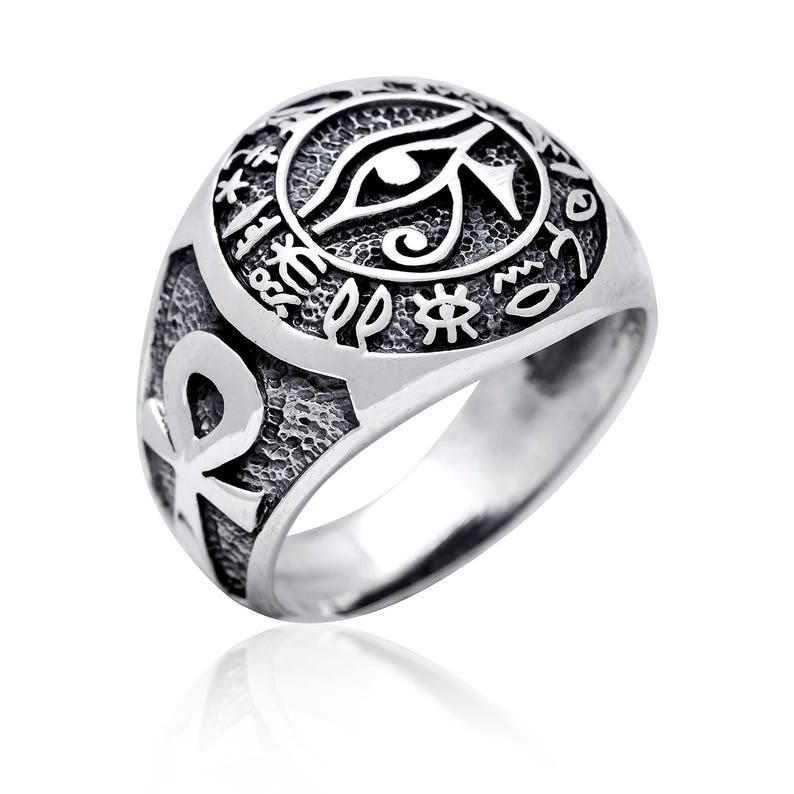 Egyptian Jewellery Hieroglyphs Eye of Horus Udjat Ankh Giza Pyramid Handcrafted Sterling Silver 925 Ring