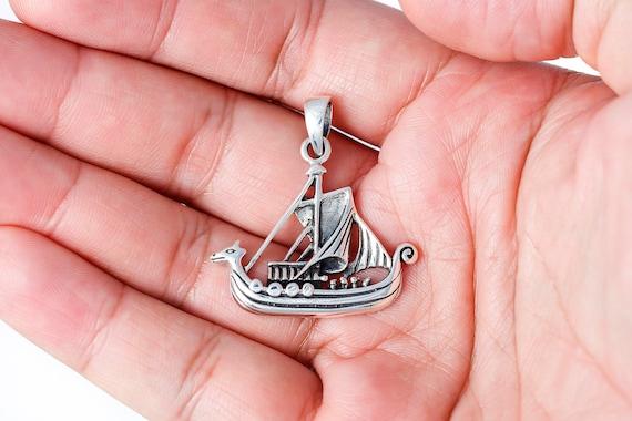 Viking Longboat Ship Boat Pendant Odin Necklace Pagan Norse Pewter Jewellery
