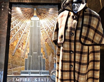 Sherlock Holmes style Plaid Wool Cape with removable top Cape