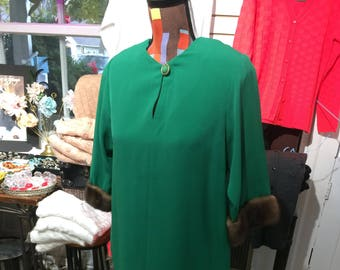 Vintage Green Dress with Mink Trim by Rouie