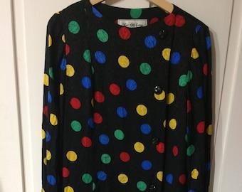 Saks Fifth Avenue 1980s Vintage Polka Dot 100% Silk Dress