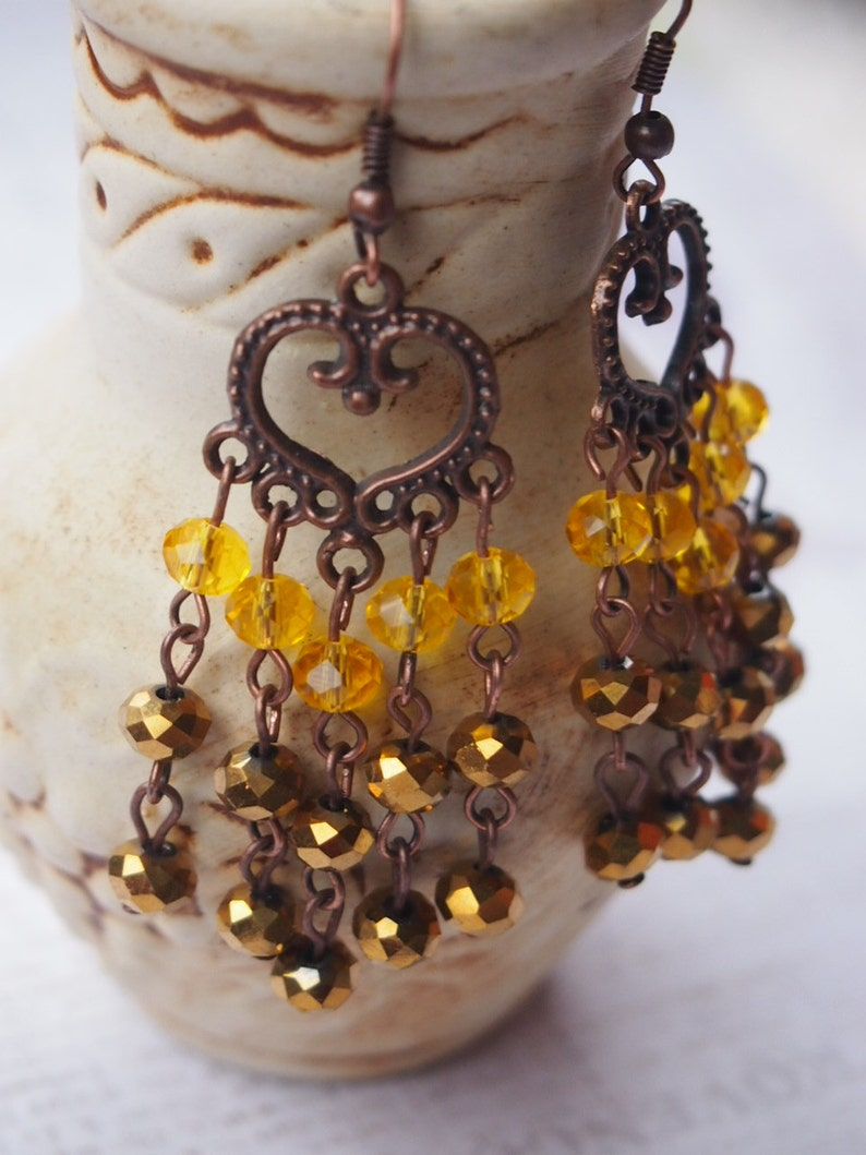 Gothic yellow and gold Long Earrings Gunmetal Victorian Style