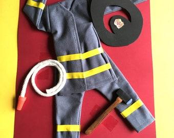 Elf Doll Fireman, fire fighter, fire department uniform, outfit, clothing, clothes, hatchet, fire hose, hat