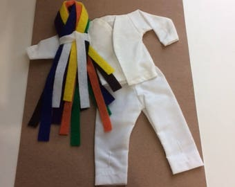 Elf Karate uniform judo martial arts Gi TKD set with colored belts clothing outfit doll clothes