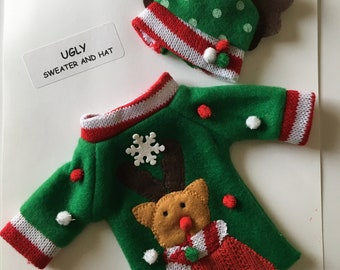 Elf Ugly Christmas Sweater and Hat set