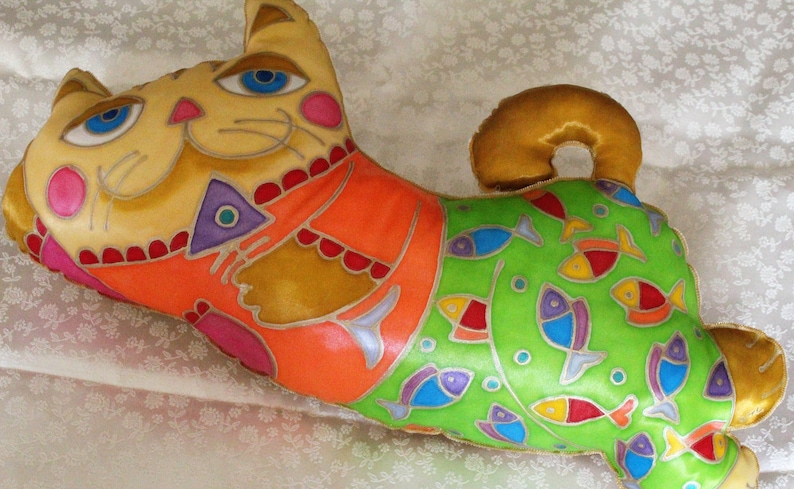pet portrait baby kid room Father/'s Day girl boy gift cushion the cat softie Cat cushion 2010 hand painting cat pillow