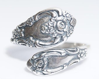 Sterling Silver Spoon Ring, (925) vintage spoon ring, Vanessa replica