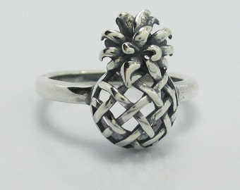 Oxidized Sterling Silver (925) Pineapple Ring