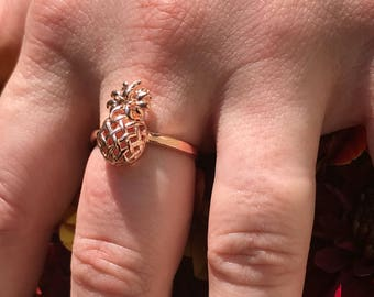 Rose Gold Plated over Sterling Silver Pineapple Ring