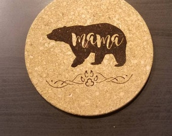 MAMA BEAR CORK Trivet - 7 Inch Round Cooking Hot Pad and Kitchen Essential for Mom, Mother, Grandma, Foodie, Chef, California