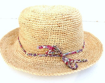 1d0c5ebe handmade straw hat, natural fiber raffia hat with Betsy liberty  Ribbon/mother-daughter Hat