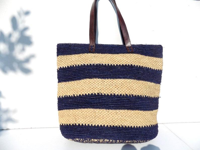 a208811f0555e Straw bag tote bag Tote made hand crochet blue beige