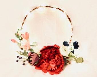 Rose & Magenta Glow Hair Crown Wreath