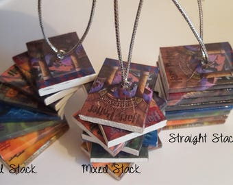Small set of 8 stacked Harry Potter Book Ornament, JK Rowling Stacked Book Ornament (Made to order)