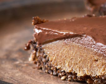 Salted Date Caramel Chocolate Squares with Crunchy Almond Coconut Crust (Natural, Gluten-Free, Vegan, Paleo, Raw, Organic)