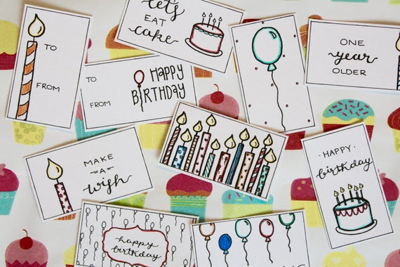 Birthday Gift Tags Printable Handwritten Traditional Color
