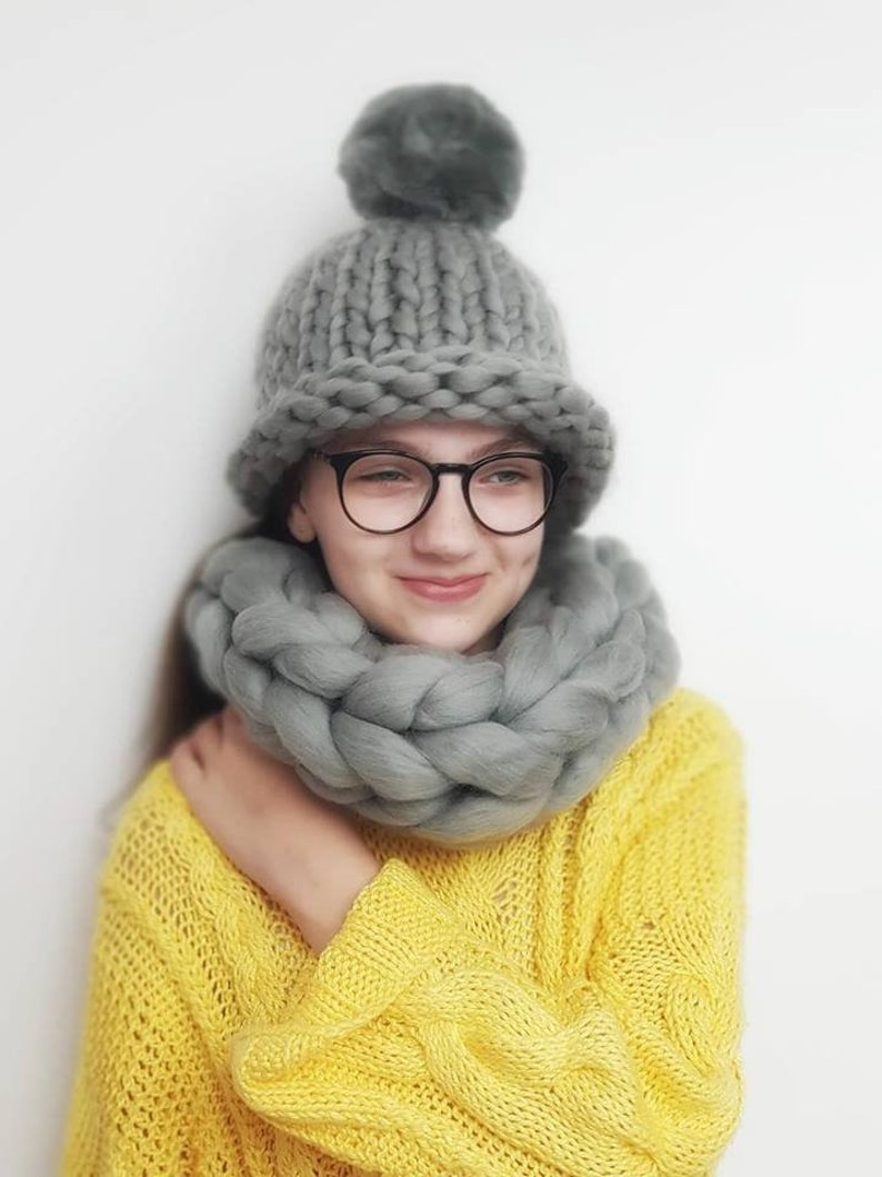 350326a3639 Merino Wool Set Hat and Scarf Knit Wool Hat SuperChunky
