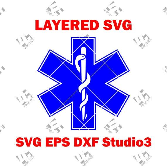 Ems Star Of Life Emt Logo Medic Alert Cutting File Svg Etsy