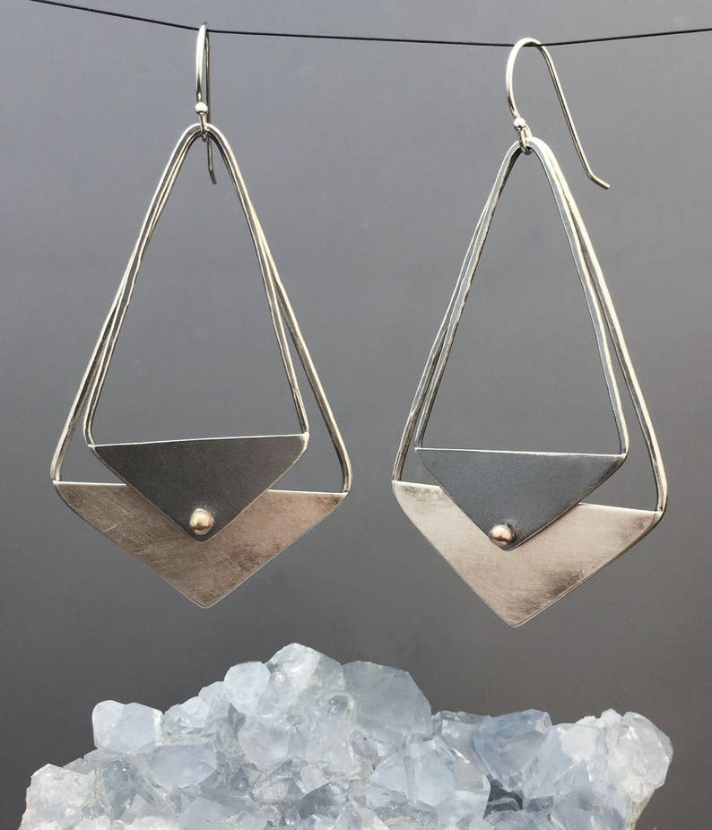 Triangle Earrings  Large Silver and Gold Earrings  Oxidized image 0
