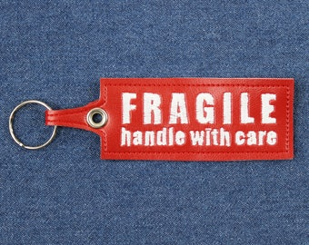 "Fragile: Handle With Care Keychain – 5"" x 1.5"" Spoonie Keychain –Chronic Illness Keychain –Handle With Care Key Ring –Vegan Leather Keychain"