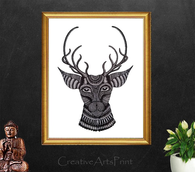 Ciervo cabeza de los ciervos ciervos pintura impresión de   Etsy