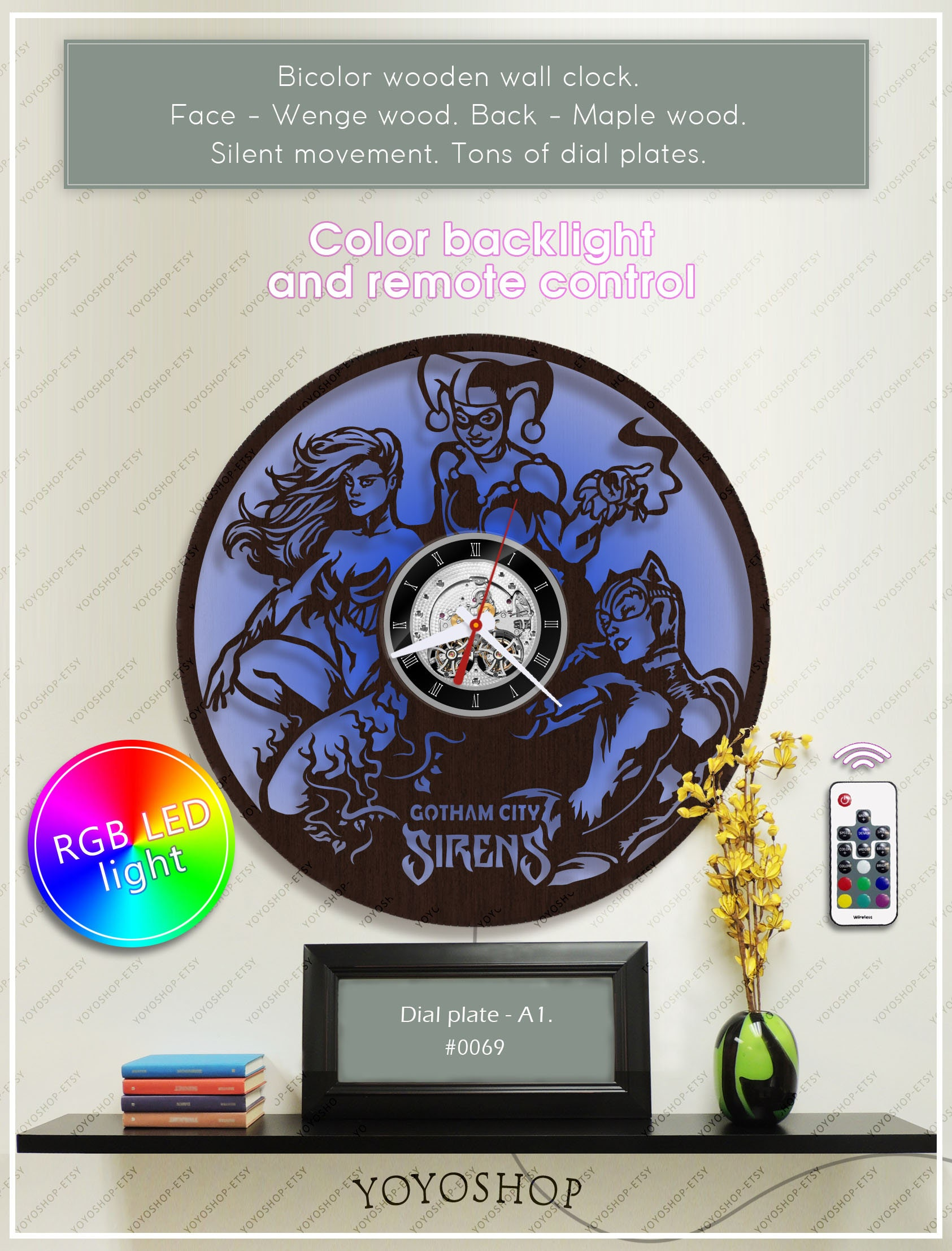 Harley Quinn Clock Dc Comics Clock Poison Ivy Wooden Clock With Backlight Batman Gift Wall Clock W069 Catwoman Clock Dc Style Decor