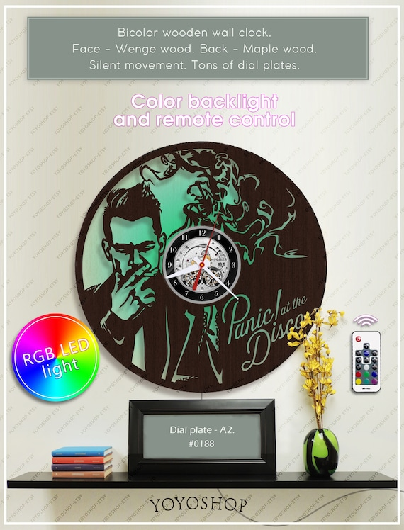 Panic at the disco wooden clock with led light wall clock aloadofball Image collections
