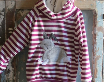 rabbit sweatshirt, hoodie, kids hoodie, striped sweatshirt, animal sweatshirt, woodland animals, baby sweatshirt, baby hoodie, baby animals