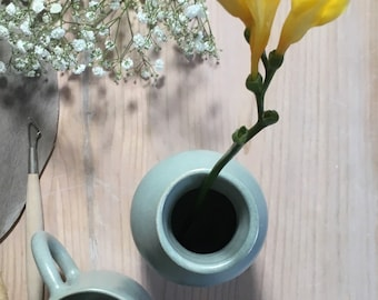 Bottle vase in white glaze stoneware water Green