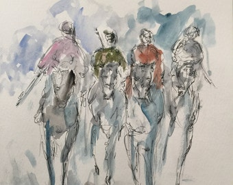"""Original pen and ink drawing with watercolor wash """"The Race"""""""