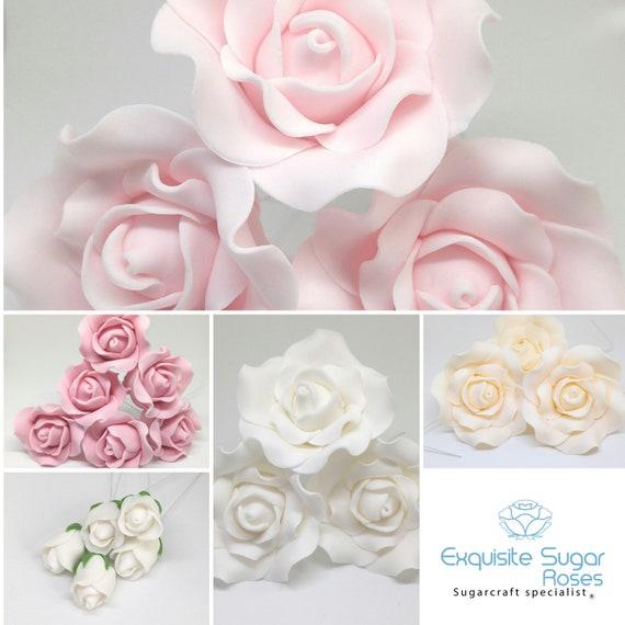 Astounding Sugar Rose Flowers Wedding Cake Birthday Cake Topper Etsy Birthday Cards Printable Opercafe Filternl
