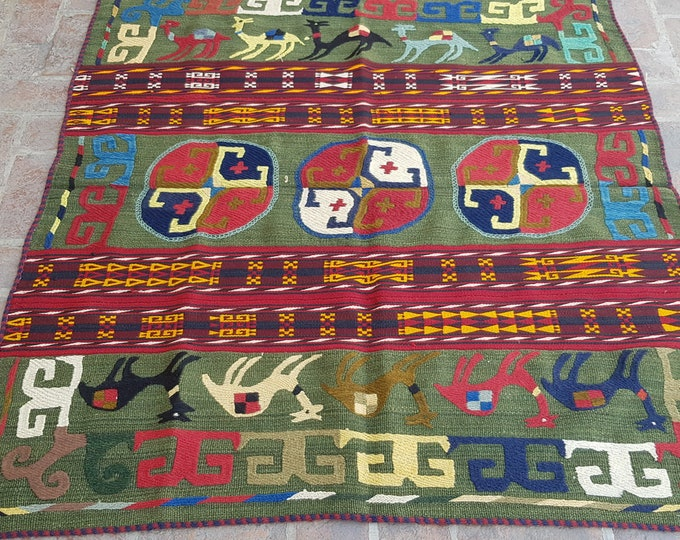 147x153 Unique suzani kilim rug - Tribal Embroidery kilim - living room kilim - turkish kilim - wool rug - traditional kilim