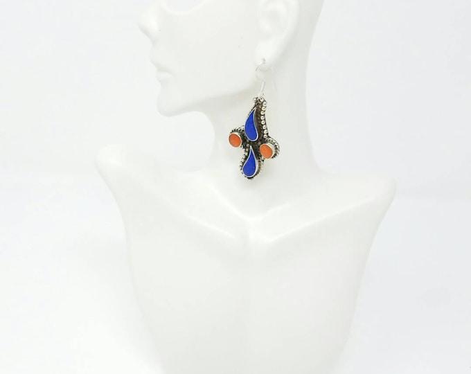 Beautiful Afghan kuchi earings Lapiz coral gypsy earings tribal earrings